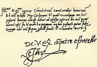 Handwritten letter by Cesare Borgia.
