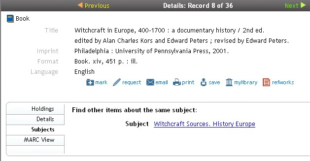 "catalogue record for ""Witchcraft in Europe"""