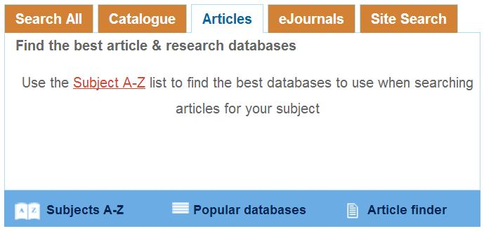 Library Website Searchbox - Articles Tab