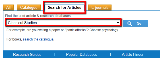 How to find Classical Studies articles