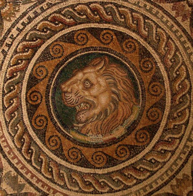 Lion. House of Liber Pater (detail), Roman Museum of Sabratha, Libya (Sebastià Giralt, Flickr)