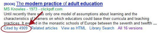 Cited by information in Google Scholar