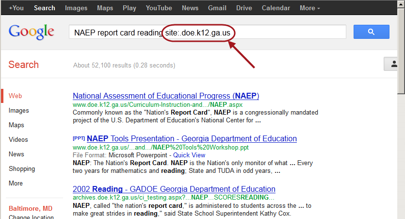 Google search using the site limit for NAEP report card reading site:.doe.state.ga.ux