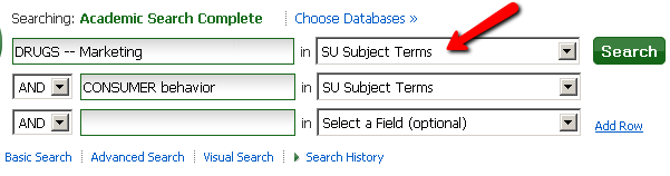 subject terms are entered into the search boxes in Academic Search Complete and the select a field dropdown is changed to SU subject term