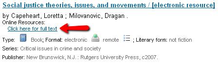 Screenshot of catalog link