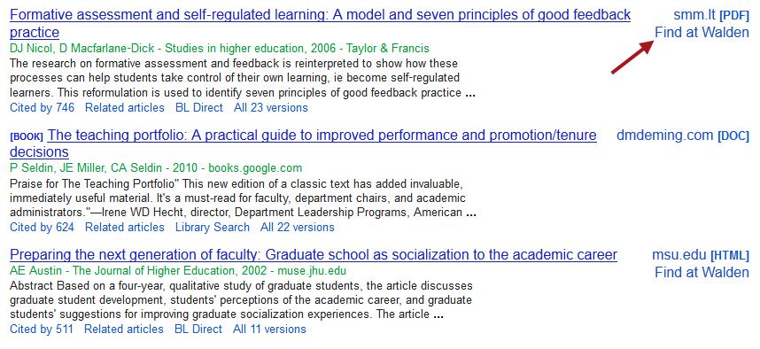 Find at Walden link in Google Scholar