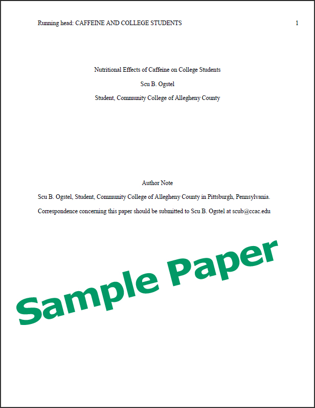 sample apa paper