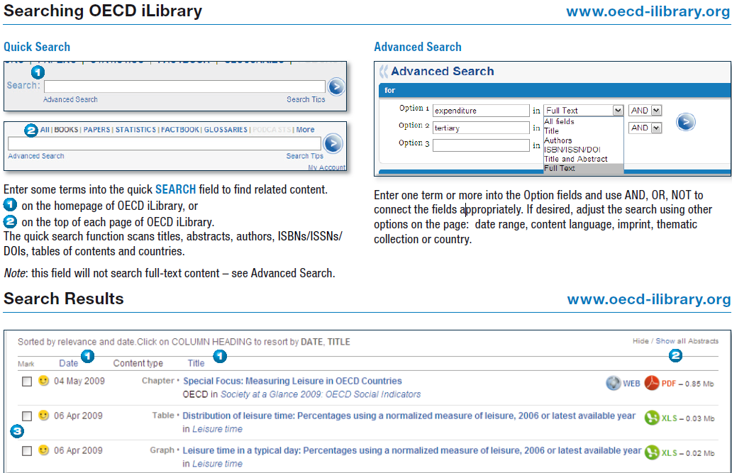 screen image of search boxes of OECD iLibrary