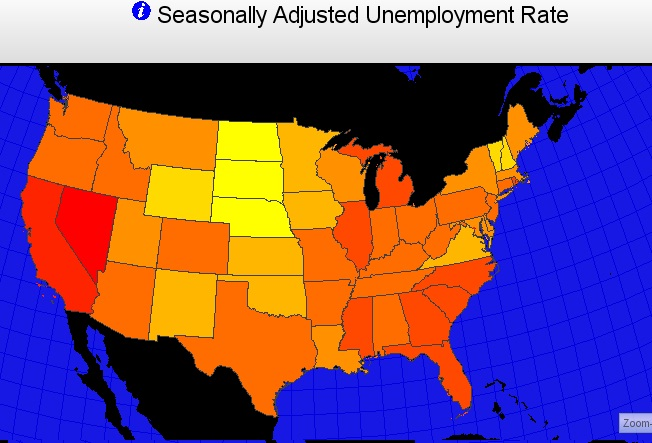 Map of United States by State Color Coded for Seasonally Adjusted Unemployment Rate