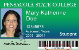 Pensacola State College student picture ID