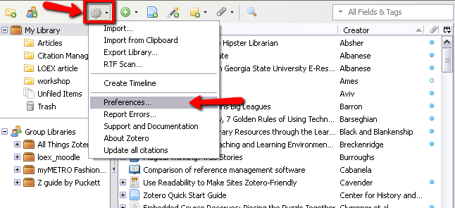 Zotero Actions icon