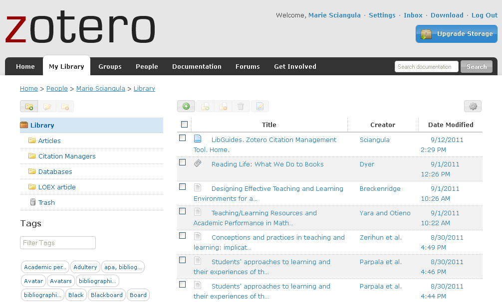 Zotero Library at Zotero.org