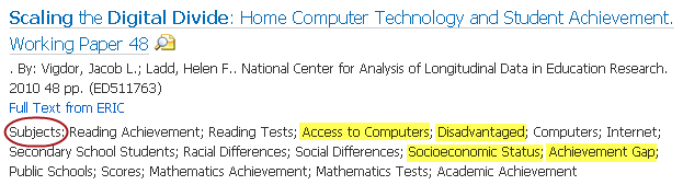 Article information with these subject terms highlighted: access to computers, disadvantaged, socioeconomic status, and achievement gap.