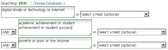 Search boxes in ERIC database. In the first box is: digital divide or technology or internet. In the second box is: academic achievement or student achievement or student success. In the third box is: poverty or poor or low income.