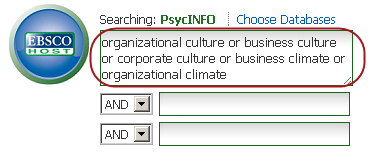 "PsycINFO search box. The first box has the text, ""organizational culture or business culture or corporate culture or business climate or organizational climate"""