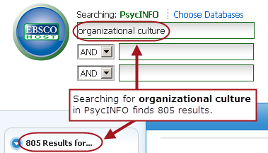 PsycINFO search with the first box containing: organizational culture. Note: Searching for organizational culture in PsycINFO finds 805 results.