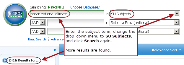 "PsycINFO search with ""organizational climate"" in the first search box and the drop-down menu to the right of it changed to ""SU Subject."" 4551 results are found with this search."