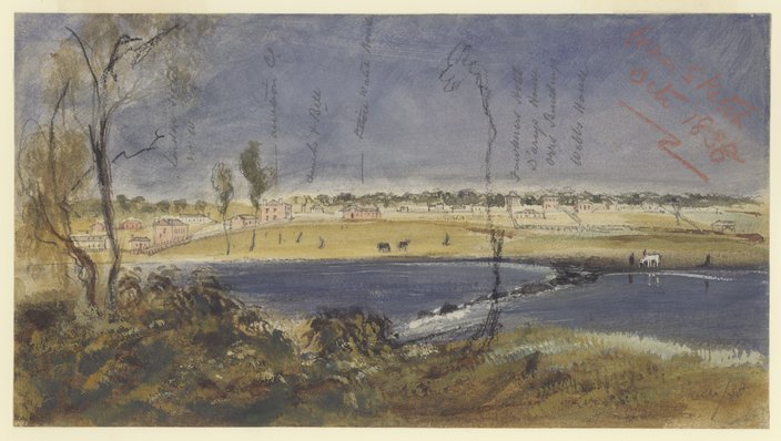 [Melbourne from the falls, from a sketch Oct. 1838] by Robert Russell.