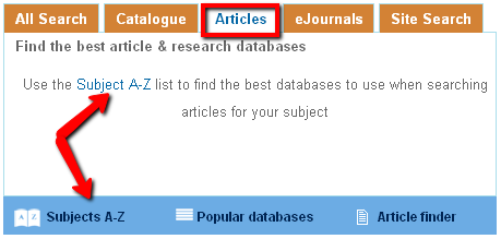 searching for articles in subject databases