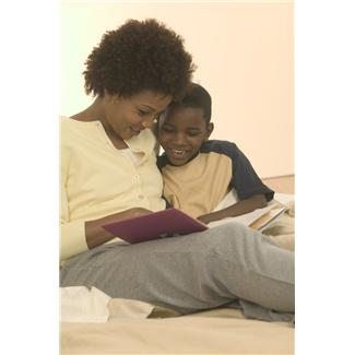 woman and child reading