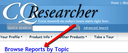 Screenshot of CQ Researcher browse link
