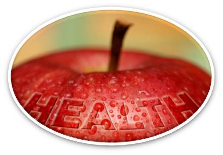 """Oval image of apple top. """"Health"""" is embedded into apple."""