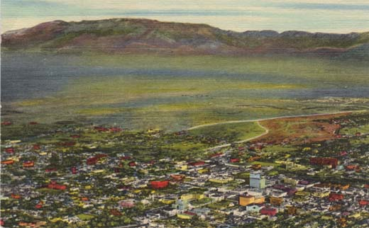 Skyline of City and Sandia Mountains, Albuquerque, N. M.