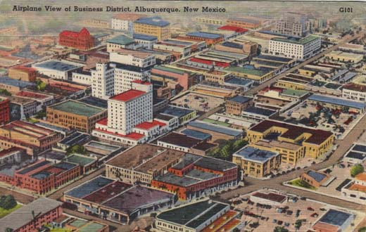 Airplane View of Business District, Albuquerque, New Mexico