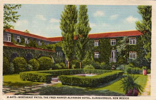 Northeast patio of the Alvarado Hotel, 1939