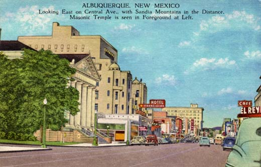 Albuquerque, New Mexico looking east on Central Ave