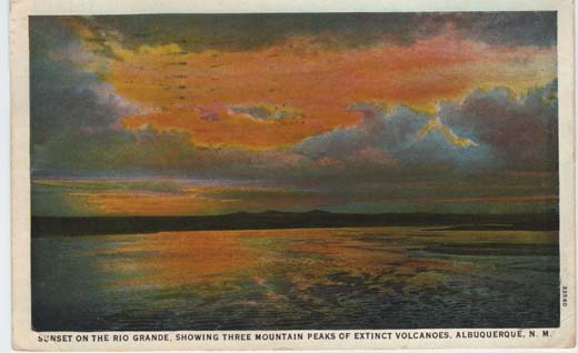Sunset on the Rio Grande, Showing Three Mountain Peaks of Extinct Volcanoes, Albuquerque, N. M.