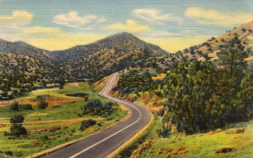 Highway U. S. 66 Through Sandia Mountains, East of Albuquerque, N. M.