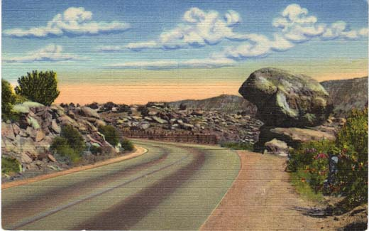 Balanced Rock on Highway U. S. 66 entering Tijeras Canyon, East of Albuquerque, N. M.