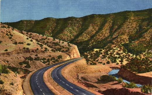 U.S.66 Four Lane Highway Through Tijeras Canyon East of Albuquerque, New Mexico.