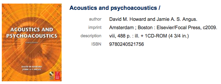 "record for a book on hearing ""Acourstics and psychoacoustics"""