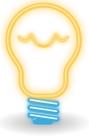 Light bulb [Manuel C. Piñeiro 2012, 'neon (classic) bulb', CC Licence: CC0 1.0 Universal, https://creativecommons.org/publicdomain/zero/1.0/, Image Source: Open Clip Art Library, http://openclipart.org/detail/172390/neon-classic-bulb-by-asincrono-172390]