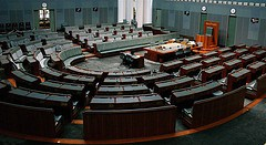 Parliament House, Canberra - House of Representatives [Ben Bishop, 'Parliament House', CC Licence: CC BY-NC-ND 2.0 (https://creativecommons.org/licenses/by-nc-nd/2.0/deed.en), Image Source: flickr (https://www.flickr.com/photos/leorex/101117344)]