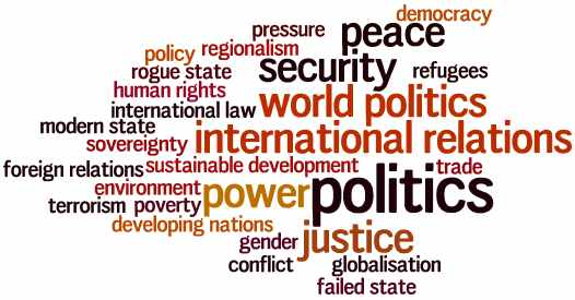 Keywords: world politics, foreign relations, international relations, conflict,  war, democracy, modern state, failed state, developing nations, human~rights, poverty, gender, refugees, security, terrorism, international~law, trade, peace, rogue~state, sovereignty, sustainable~development, regionalism, pressure, power, environment, globalisation, policy, justice