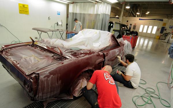 students restoring 1965 Ford Mustang