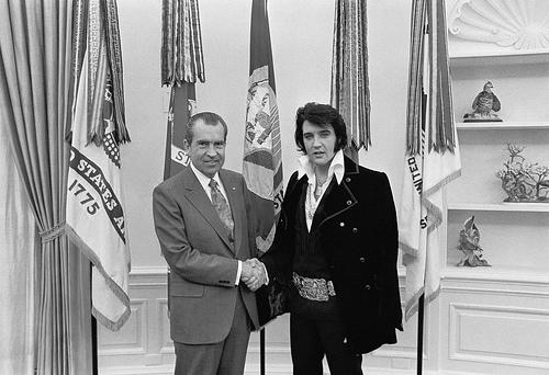 Elvis shaking Richard Nixon's hand