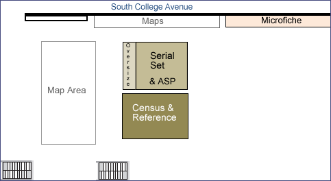 Detail of U.S. Documents Area (Morris Library map)