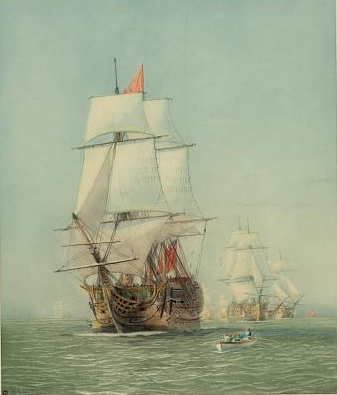 """The first journey of """"Victory,"""" 1778 Clipper sailboat painting"""