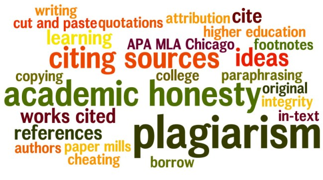 plagiarism; academic honesty; citing sources; ideas; works cited; cite; footnotes; paraphrasing; references; in-text; integrity