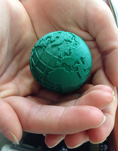 photo of a 3D printed globe
