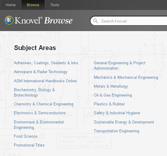 Screenshot of Subject Areas in Knovel