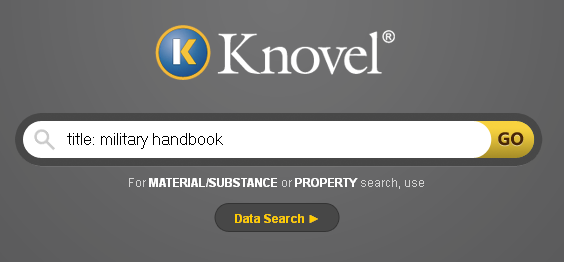 Screenshot of Knovel search toolbar