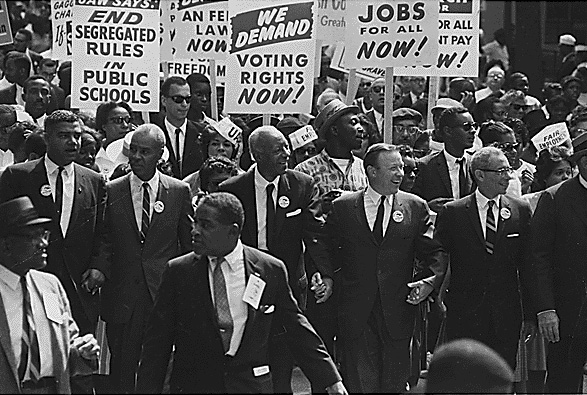Civil Rights March on Washington, leaders marching from the Washington Monument to the Lincoln Memorial.