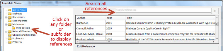 Click on any folder or subfolder to display references Or use the search bar