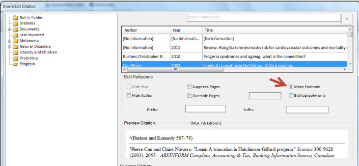 click the Make Footnote checkbox in the Edit Reference area