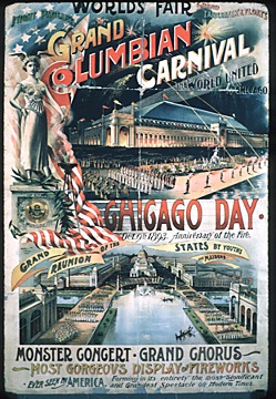 Lithograph advertising the Chicago Day celebration at the fair which commemorated the anniversary of the Great Chicago Fire of 1871. (CHS ICHi 14835)